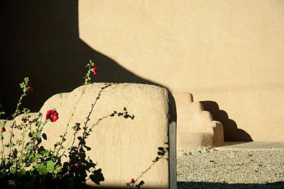 Photograph - Flowers At The Taos Church by Jim  Arnold