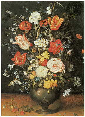 Lily Of The Valley Painting - Flowers In A Metal Vase by Jan Brueghel The Younger