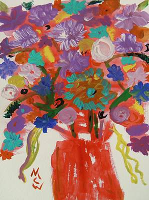 Flowers In A Wild Moment Art Print by Mary Carol Williams