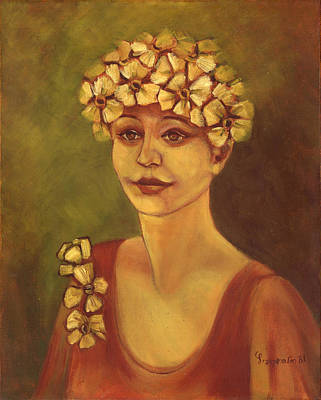 Painting - Flowers In Her Hair Woman With White Yellow Flowers On Her Head And Red Dress  by Rachel Hershkovitz