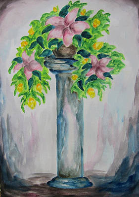 Art Print featuring the painting Flowers On A Pedestal - Wcs by Cheryl Pettigrew