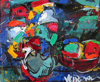 Portofino Italy Painting - Flowers On Dark 45 by Len Yurovsky