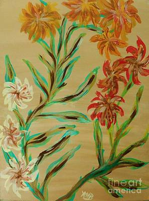 Flowers That Look Like Old Fashioned Wallpaper Art Print by Marie Bulger