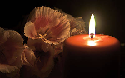 Photograph - Flowers With Candle by Bob Mulligan