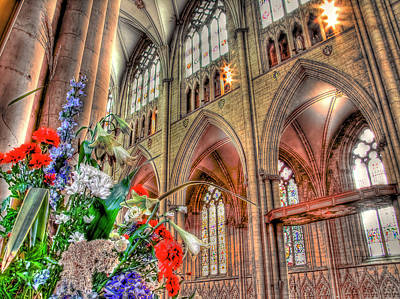 Flowers York Minster - Hdr Art Print by Colin J Williams Photography