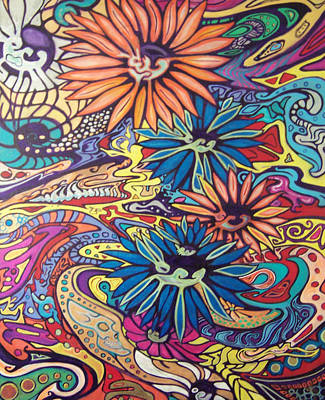 Psychadelic Painting - Flowerwild by Christian Kolle