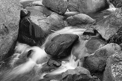 Photograph - Flowing Water Down The Colorado St Vrain River Bw by James BO Insogna