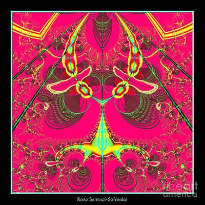 Fluorescent Alien Lady Bug Fractal 70 Art Print by Rose Santuci-Sofranko