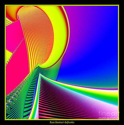 Fluorescent Boat And Giant Wave Fractal 95 Art Print by Rose Santuci-Sofranko
