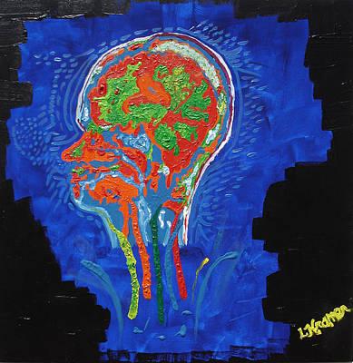 Mixed Media - Fluorescent Brain N Bloom by Lisa Kramer
