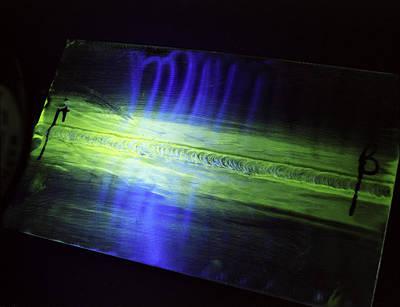 Fluorescent Dye Penetrant Test Results Art Print by Paul Rapson