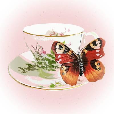 Butterflies Digital Art - Flutter Cups by Sharon Lisa Clarke