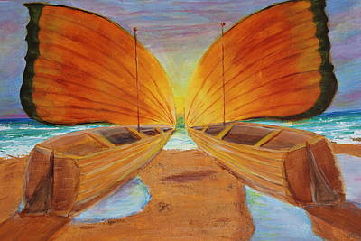 Art Print featuring the painting Fly Away Sunset by Christie Minalga