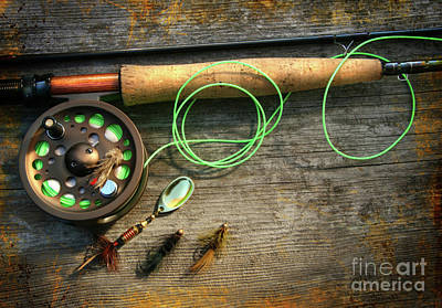 Photograph - Fly Fishing Rod With Polaroids Pictures On Wood by Sandra Cunningham