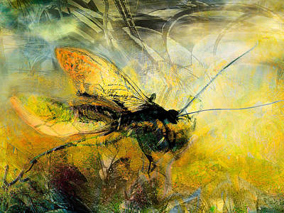 Mayfly Painting - Fly On The Wall by Anne Weirich
