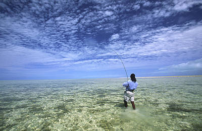 Flyfishing For Bonefish On The Bahama Art Print by Michael Melford