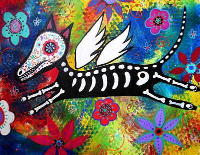 Angel Painting - Flying Angel Dog by Pristine Cartera Turkus