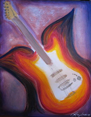 Soaring Painting - Flying Guitar by Liz Angeles