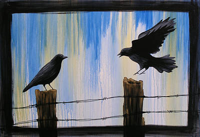 Crow Painting - Flying Home by Amy Giacomelli