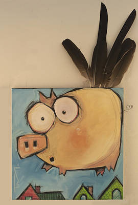 Painting - Flying Pig First Flight by Tim Nyberg