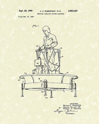 Drawing - Flying Platform 1960 Patent Art by Prior Art Design