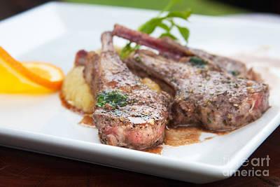 Appetizing Wall Art - Photograph - Focus Lamb Steak by Atiketta Sangasaeng