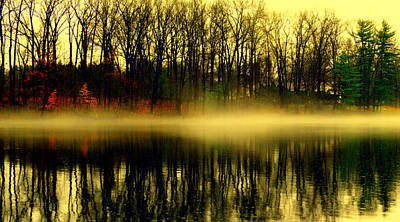 Fog At  Farrington Lake Art Print