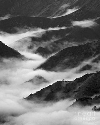 Photograph - Fog In The Valley Yosemite Black And White by Nature Scapes Fine Art
