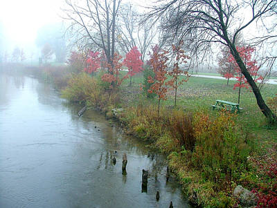 Fog On The Muskegon River Art Print