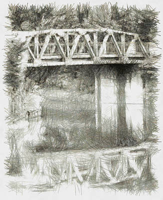 Manatee Co Photograph - Fogged Overpass - Sketch by Nicholas Evans
