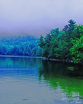Maine Mountains Digital Art - Foggy Mountain Pond by Lizi Beard-Ward