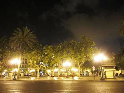 Photograph - Foggy Night In Valencia Lighted With Street Light Poles In Spain by John Shiron