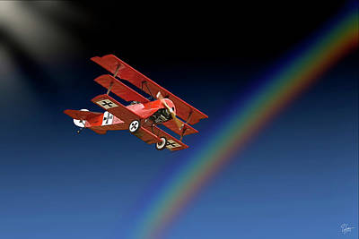 Photograph - Fokker With Rainbow by Endre Balogh