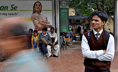 Busstop Photograph - Foldedhands by Rohit Gautam