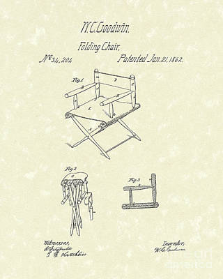 Folding Chair Drawing - Folding Chair 1862 Patent Art  by Prior Art Design