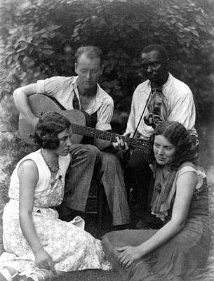 Folk Music. Four Musicians Including Art Print by Everett