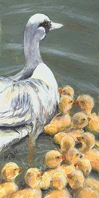 Goslings Painting - Follow The Leader by Michael Beckett