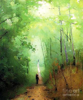 Painting - Fontainbleau Forest by Pg Reproductions