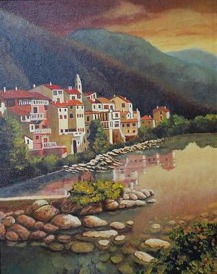 South Of France Painting - Fontan  by Santo De Vita