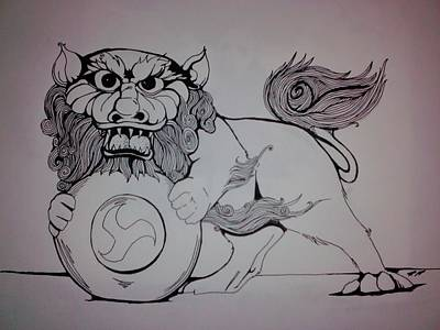 Foo Lion Art Print