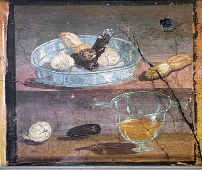 Food And Glass Dishes, Roman Fresco Art Print by Sheila Terry