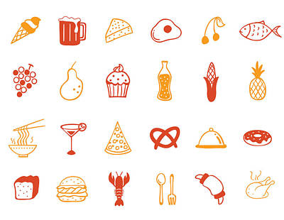 Food Icon Set Art Print by Eastnine Inc.