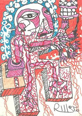 Abstract Expressionism Drawing - Foot And Mouth by Robert Wolverton Jr