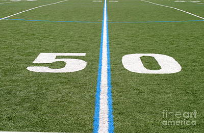 Print featuring the photograph Football Field Fifty by Henrik Lehnerer