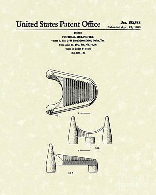 Football Art Drawing - Football Kicking Tee 1963 Patent Art by Prior Art Design