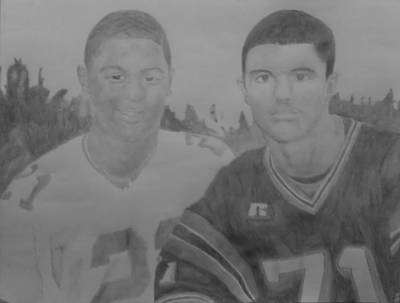 Drawing - Football Players by Milton  Gore