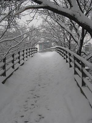 Bare Trees Photograph - Footbridge by Jeff Penny