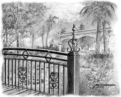 Art Print featuring the drawing Footbridge-spanish Springs by Jim Hubbard