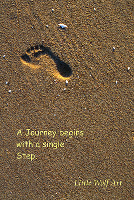 Footprint On Beach Quote Art Print