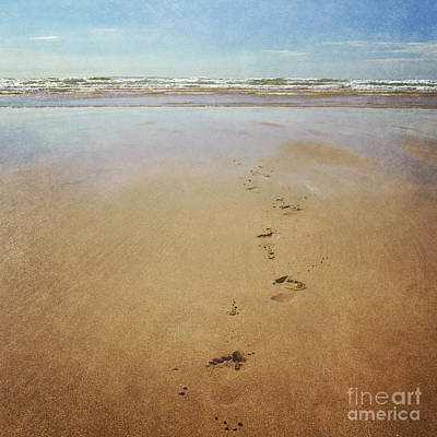 Footprints In The Sand Art Print by Lyn Randle